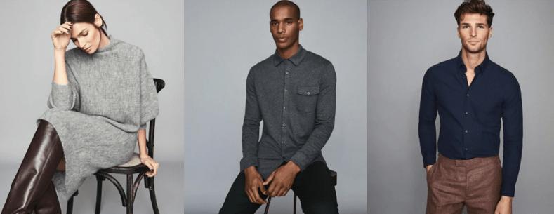 Three models dressed in dark colours