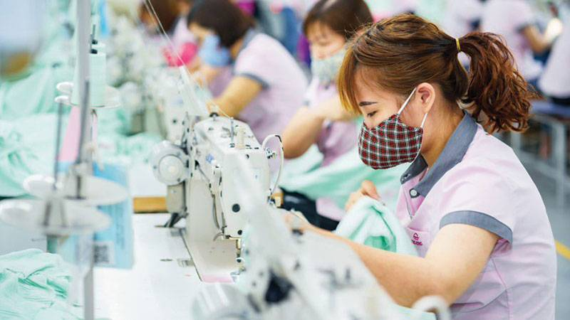 Garment production in Song Hong factory in Vietnam