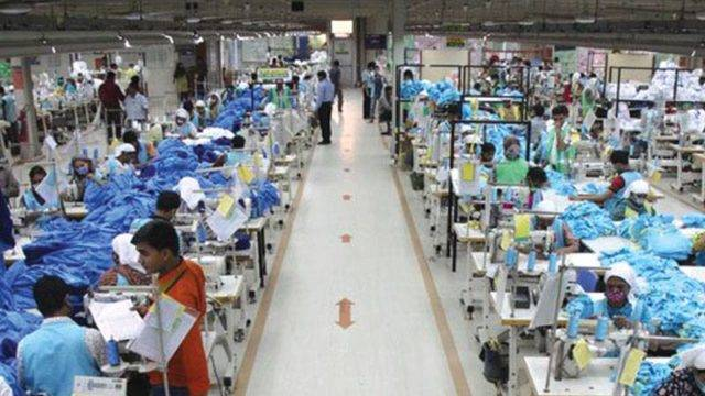 Garment production floor in Bangladesh
