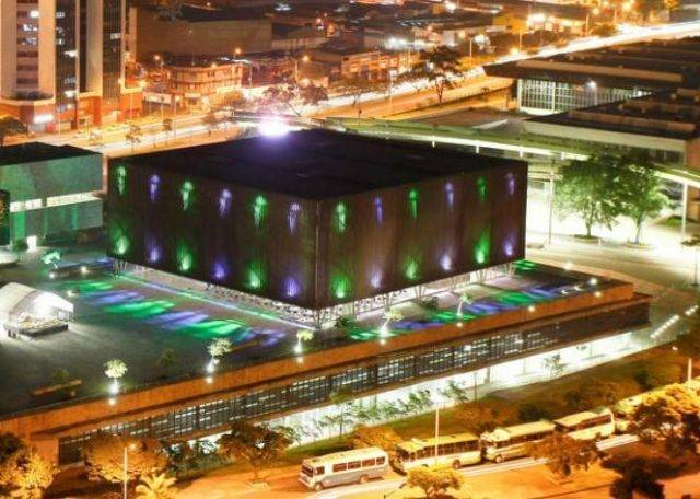 Plaza Mayor Medellin venue in Columbia lit up at night
