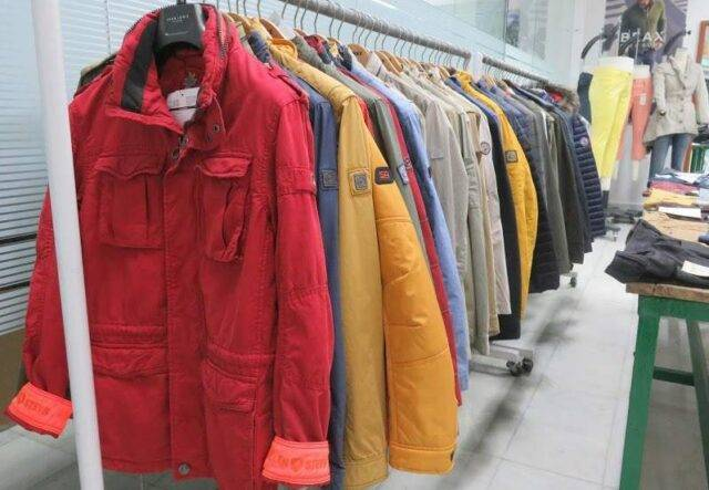Apparel showroom with colourful jackets