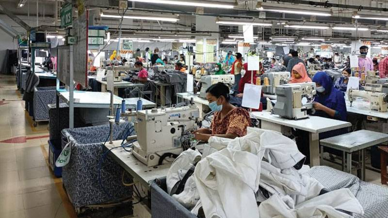Garment production floor of Paddock's Jeans in Bangladesh