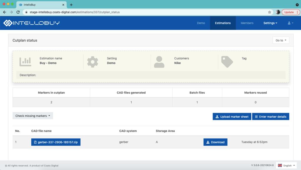 Screenshot of critical path management in Coats Digital's IntelloBuy solution