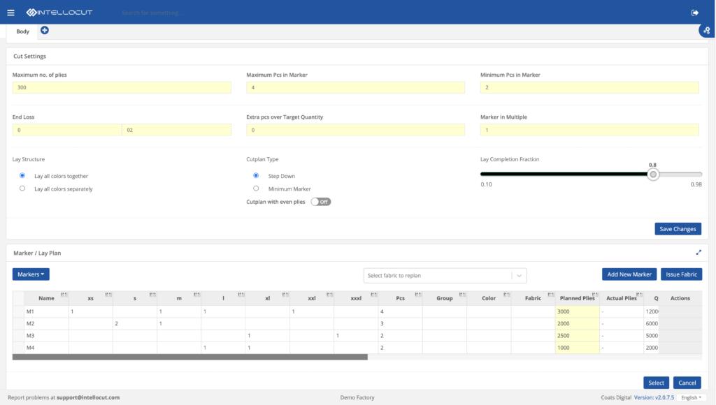 Screenshot of IntelloCut's Cut plan module