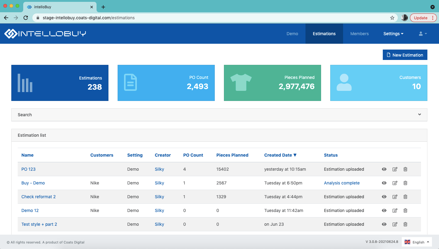 Screenshot of Fabric Estimation in Coats Digital's IntelloBuy solution