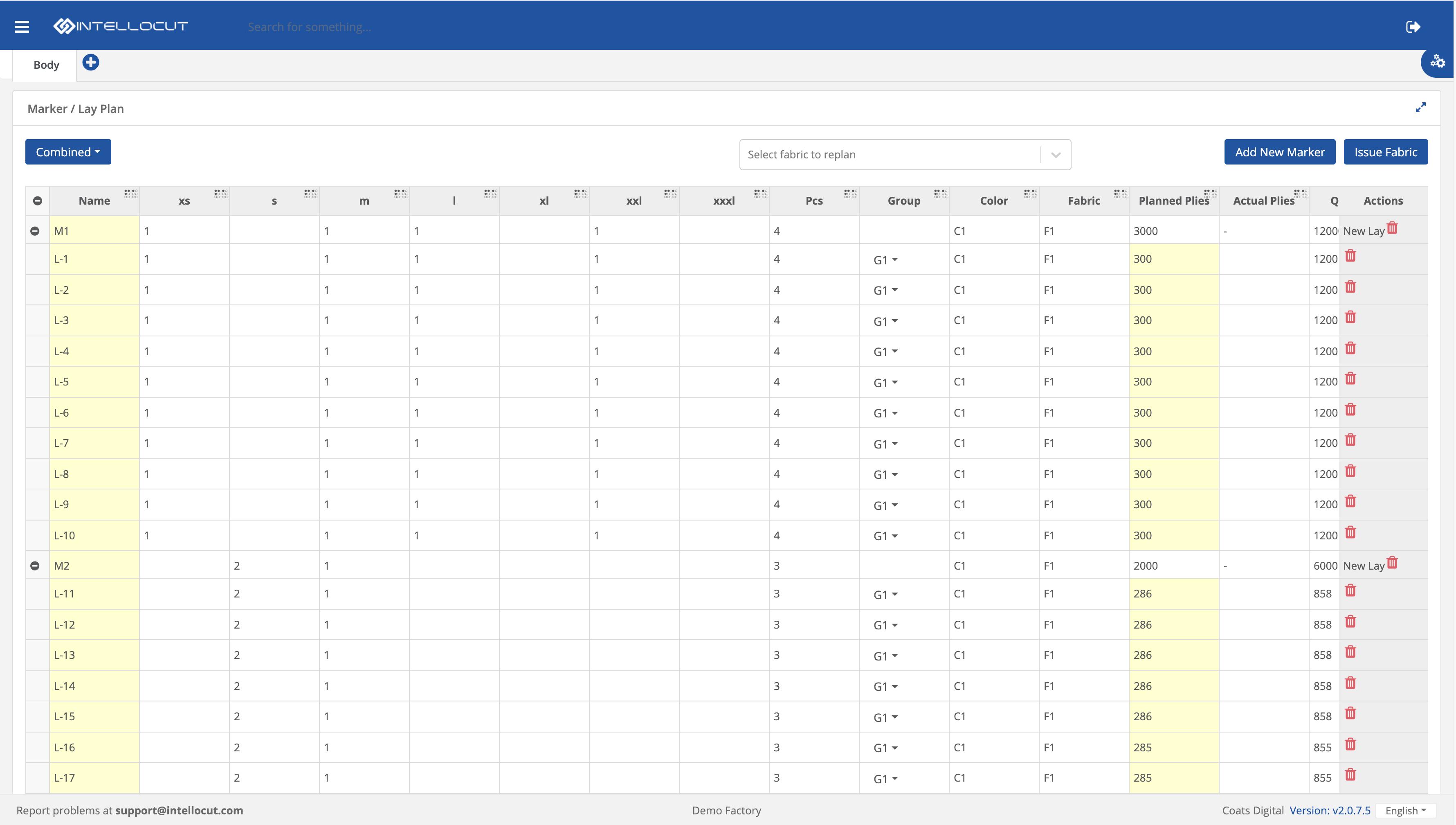 Screenshot of lay plan module in Coats Digital's IntelloCut solution