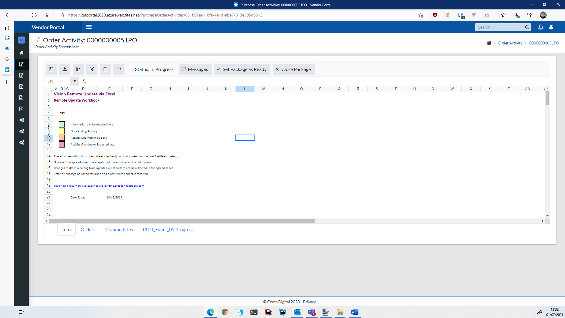 Screenshot of portal in Coats Digital's VisionPLM solution