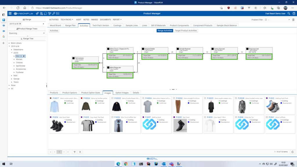 Coats Digital的VisionPLM软件中的射程规划模块屏幕截图