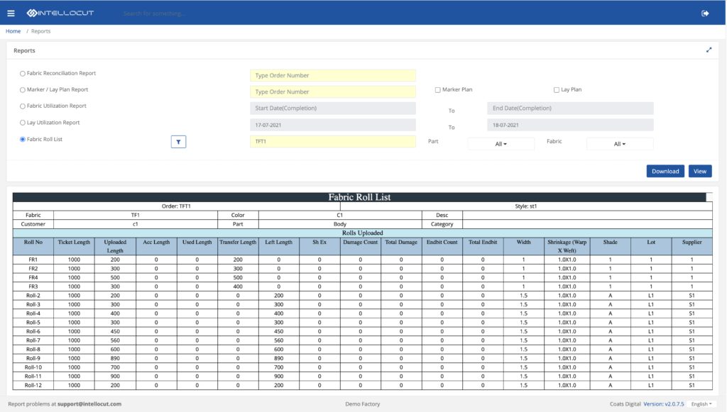 Screenshot of roll tracking in Coats Digital's IntelloCut solution