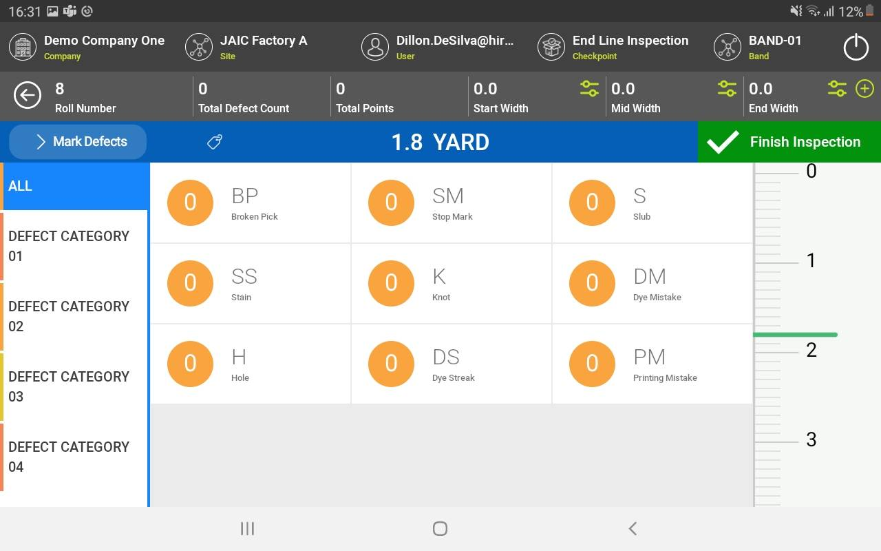 Screenshot of Res.Q FI Fabric Inspection solution