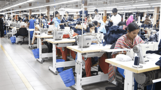 Production floor in a garment factory in Bangladesh