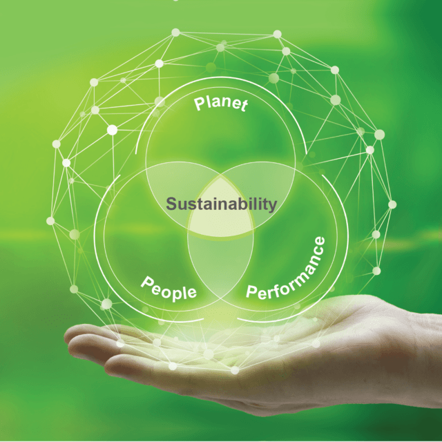 Three circles displaying people, planet and performance interconnected in the middle with the words sustainability